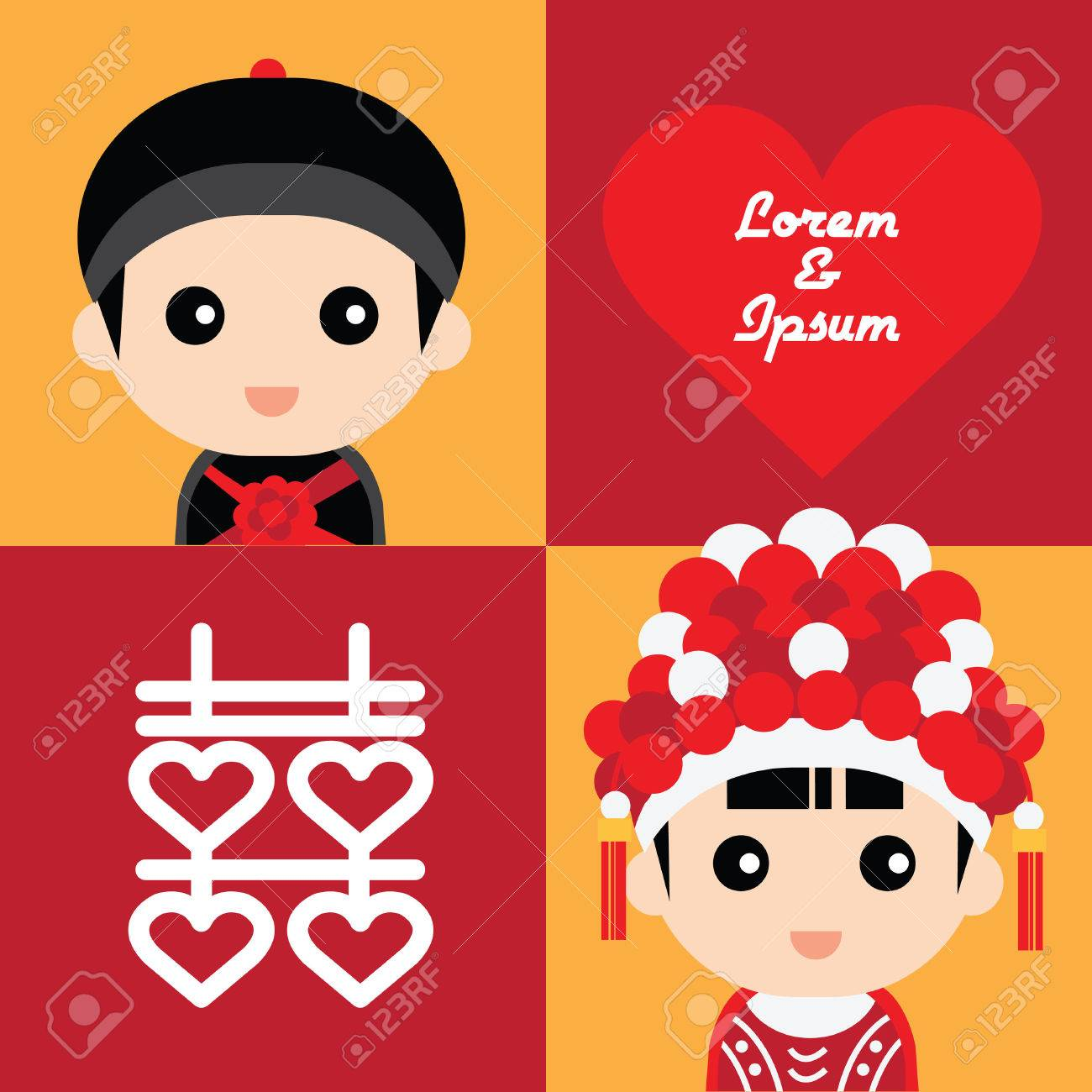 Illustration of cute couple in traditional chinese wedding costume - 35850491