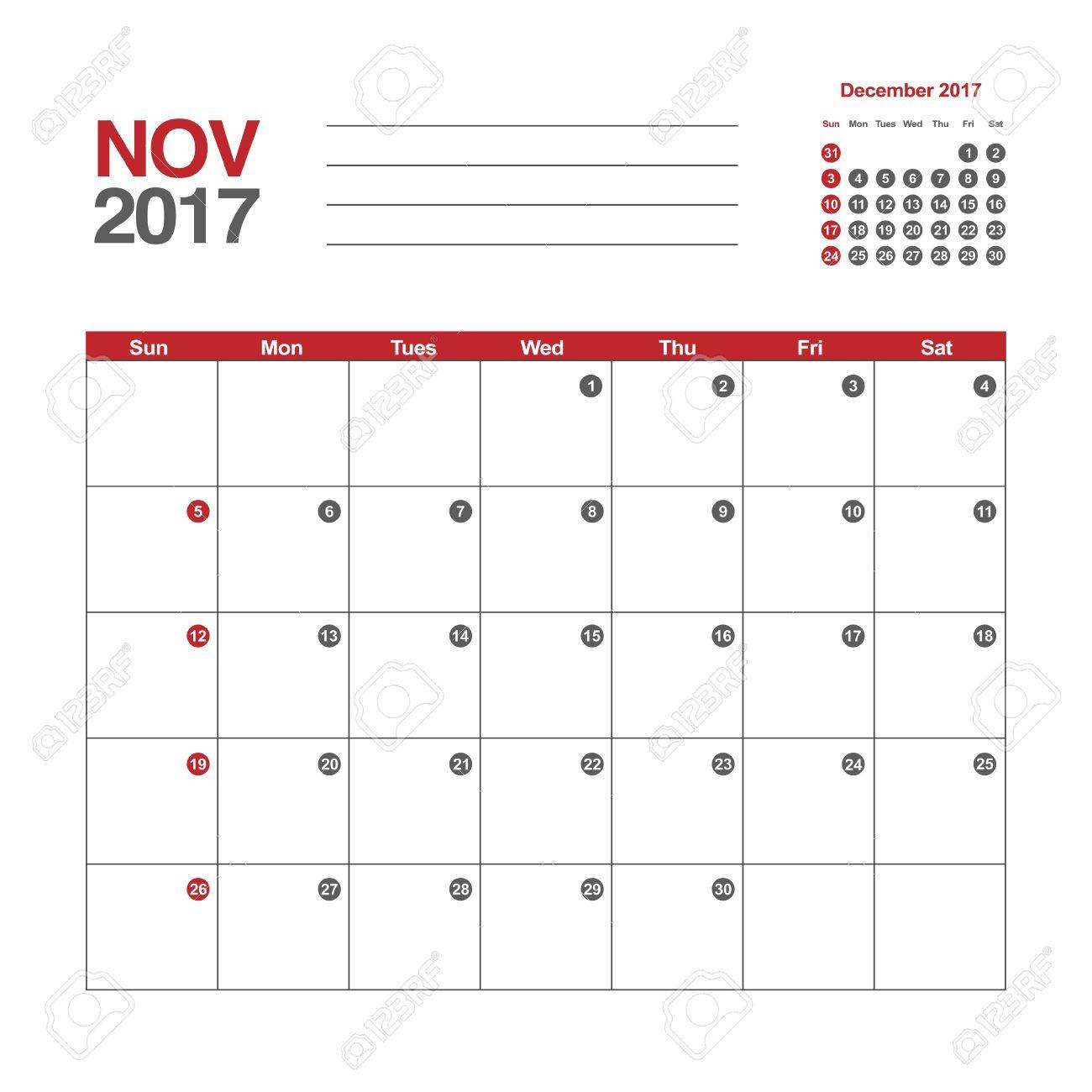 2017 年 11 月カレンダーのテンプレートのイラスト素材ベクタ Image