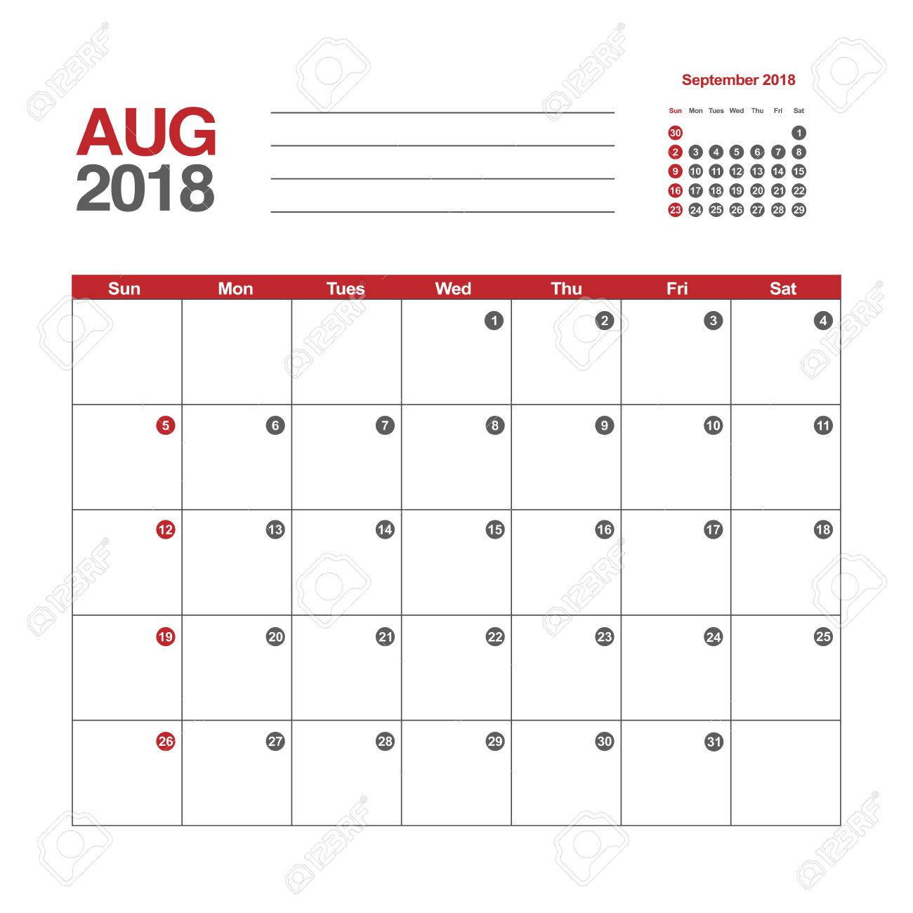Template of calendar for August 2018
