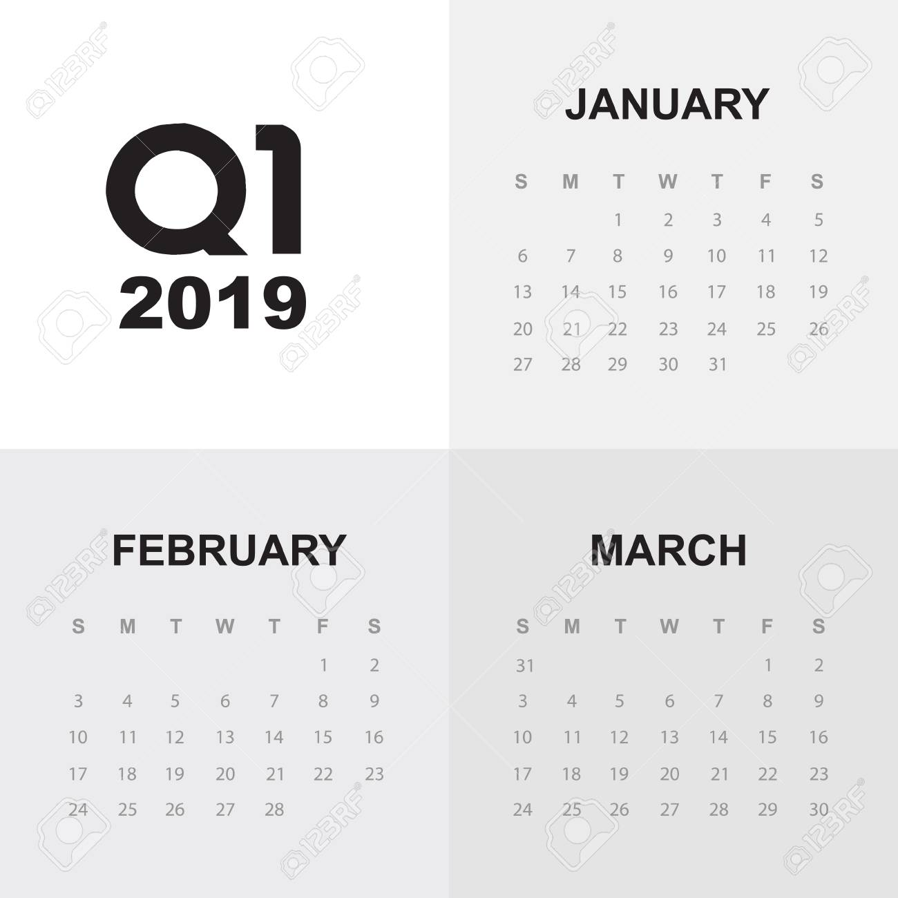 First Quarter Calendar 2019 First Quarter Of Calendar 2019 Royalty Free Cliparts, Vectors, And
