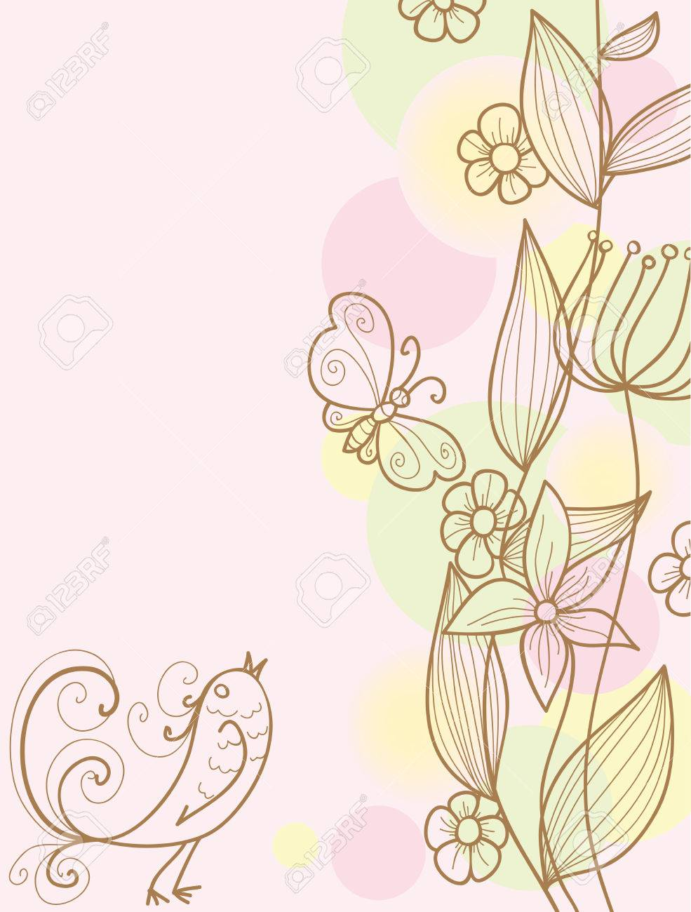 floral background with bird, butterfly and plants Stock Vector - 8017393
