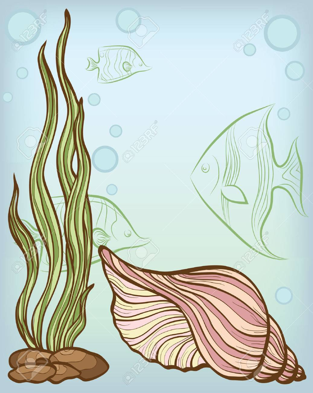 background with shell and fishs Stock Vector - 8797704