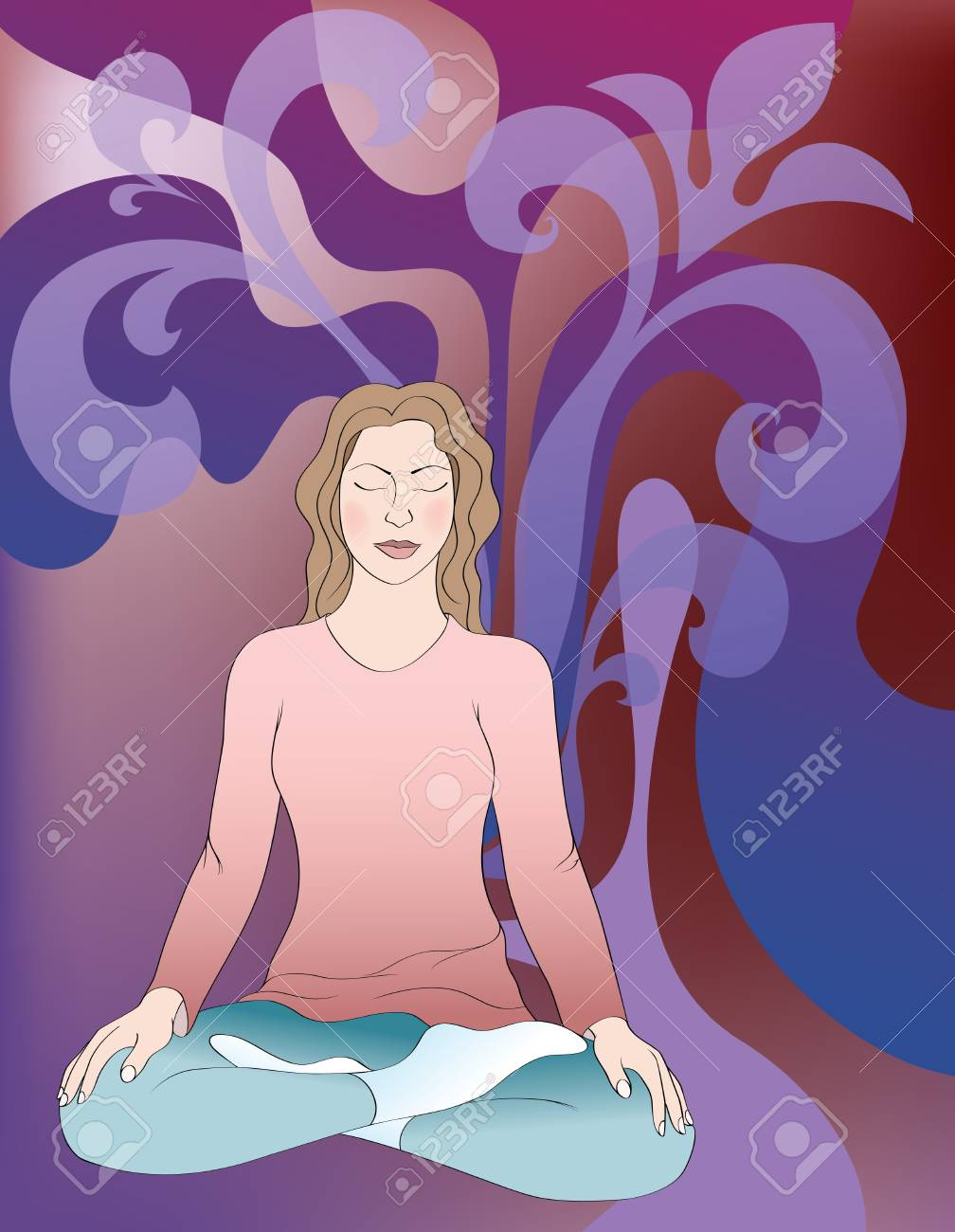 background with meditating girl Stock Vector - 9149585