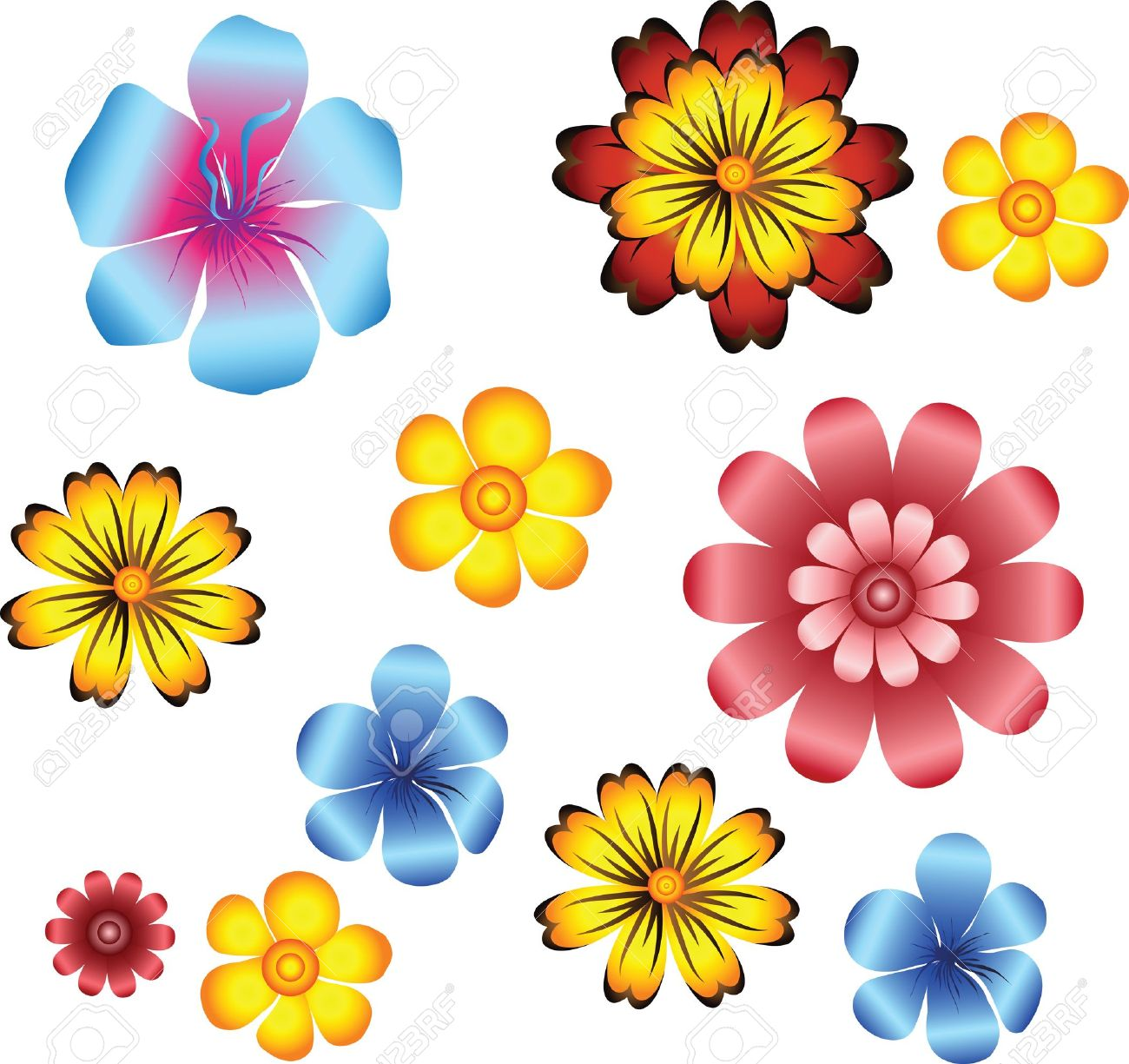 set of flowers Stock Vector - 10172286