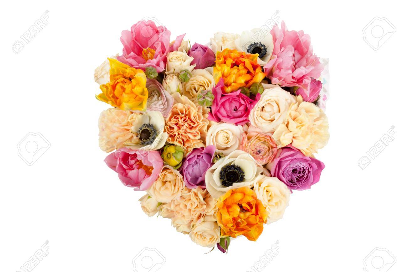 Heart Shaped Flower Bouquet Isolated On White Background Stock Photo ...