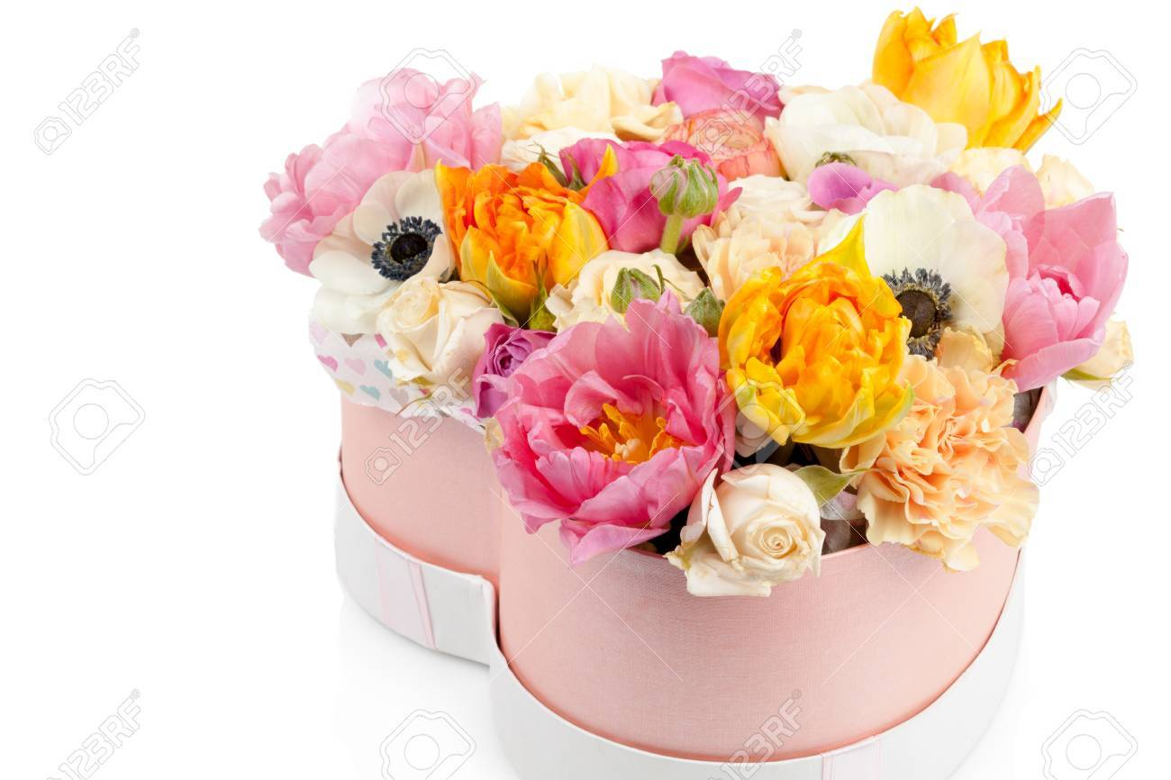 Flower Bouquet In A Heart Shaped Box Isolated On White Background ...