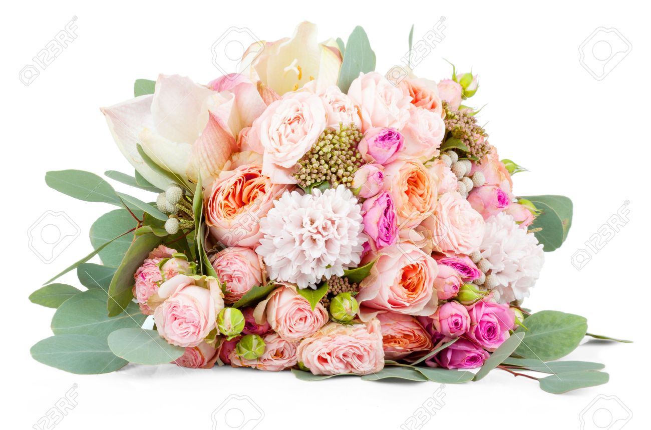 Beautiful Bouquet Of Flowers Isolated On White Background Stock
