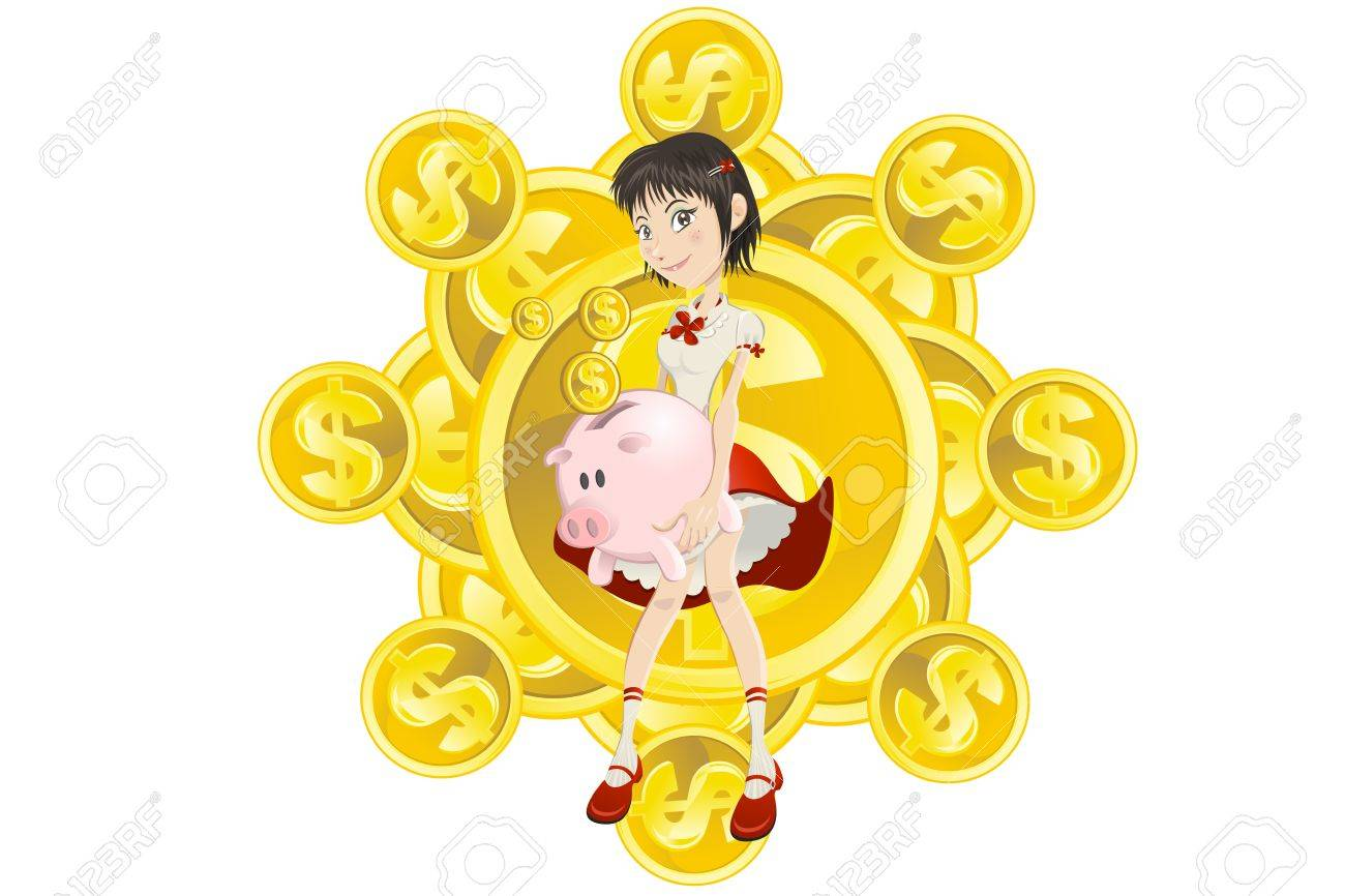 girl saving her gold dollar coin money to pink piggy bank - 14580303