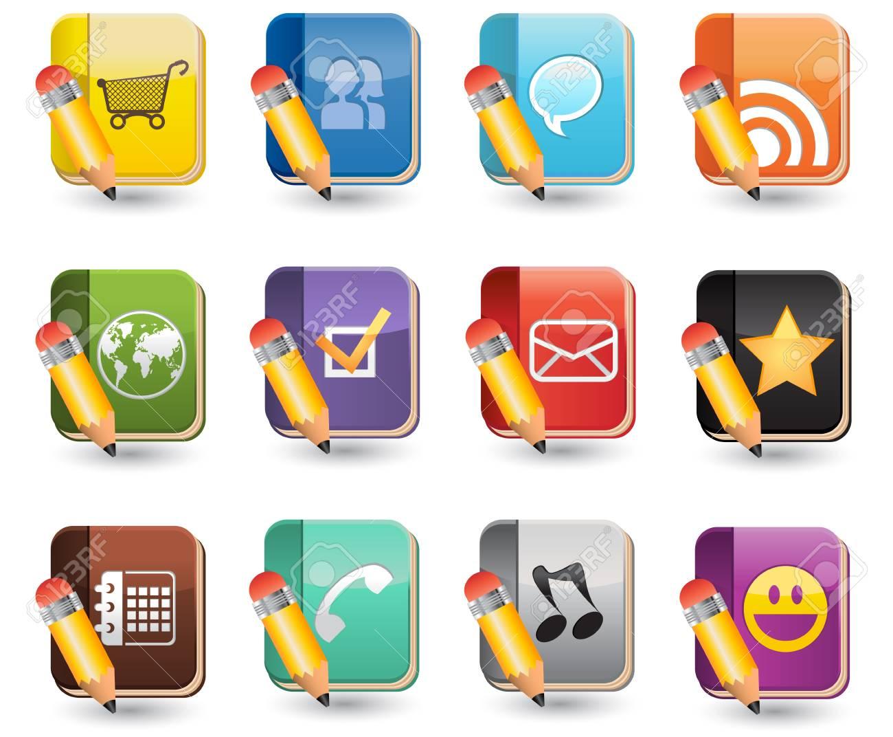 Social Media of Book Icon Set Stock Vector - 14604928