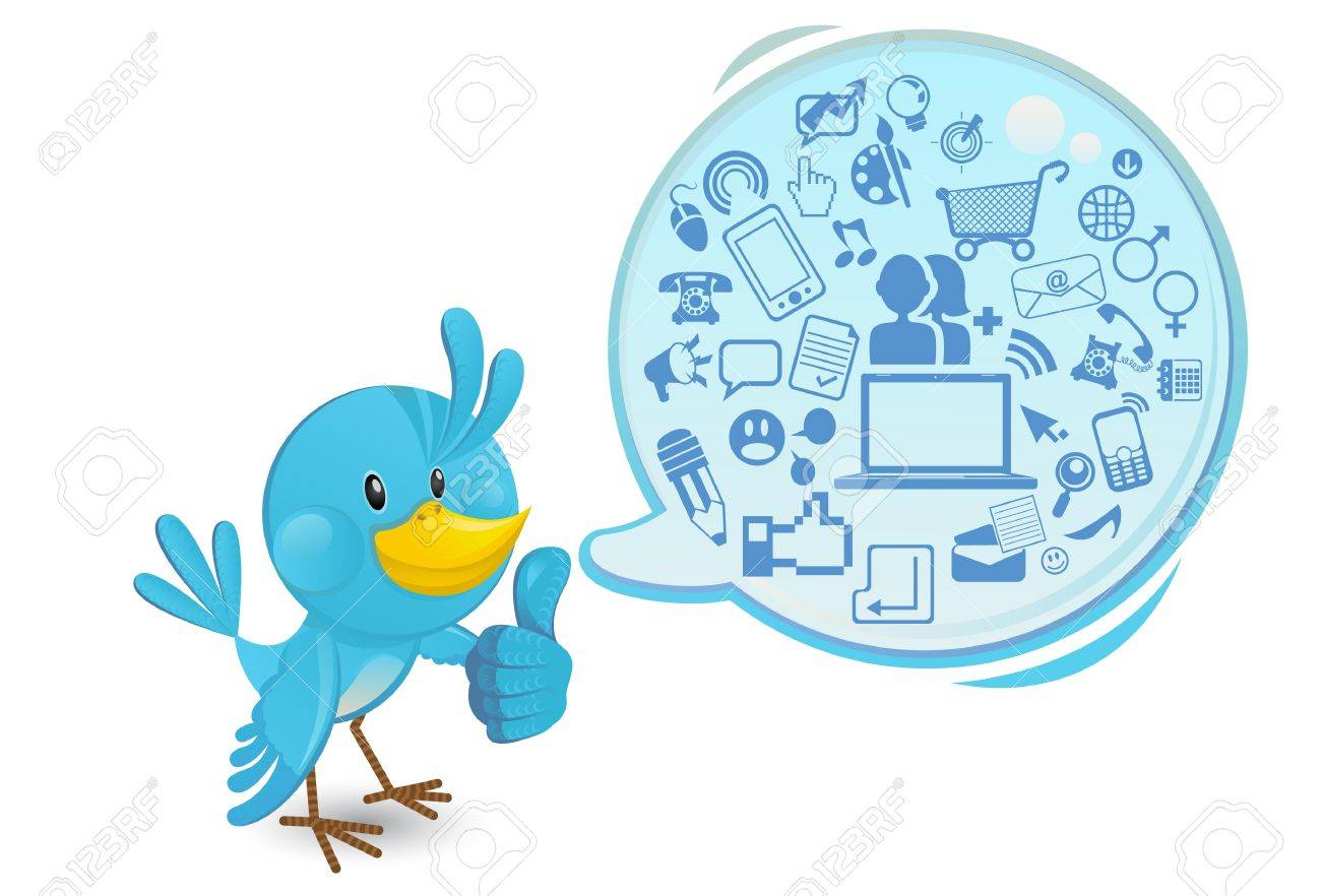 Social Networking Media Bluebird With A Speech Bubble Thumbs Up - 14773865