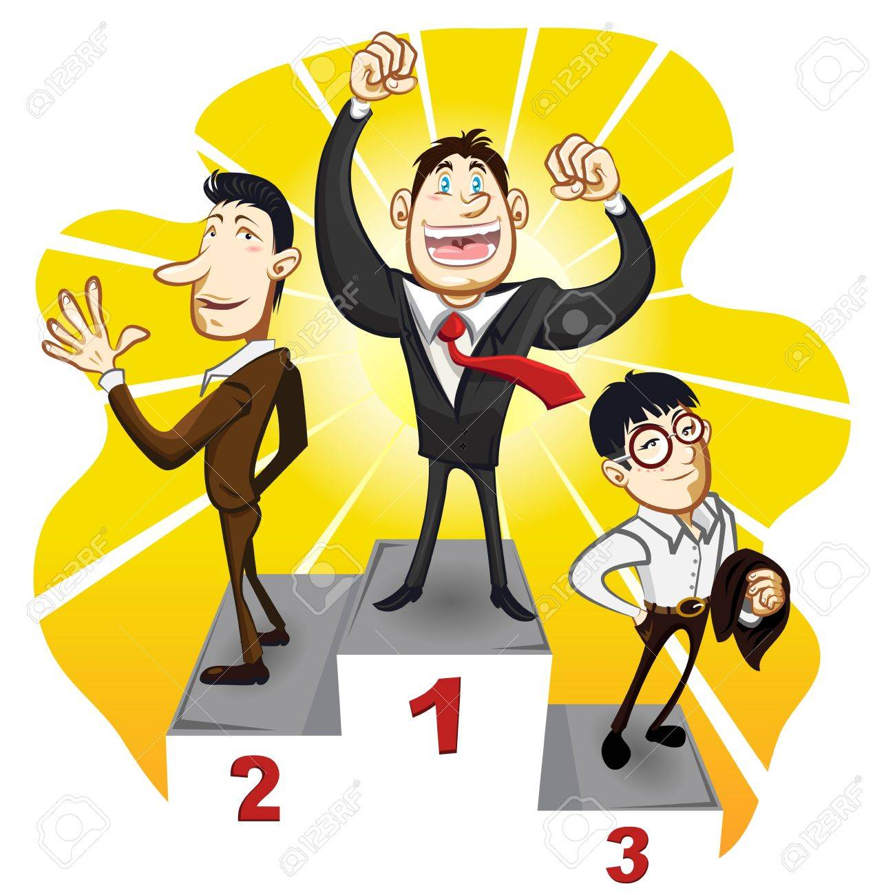 A Business Podium With The Winner Businessman Champion Stand In The First, Second And Third Place - 19111657