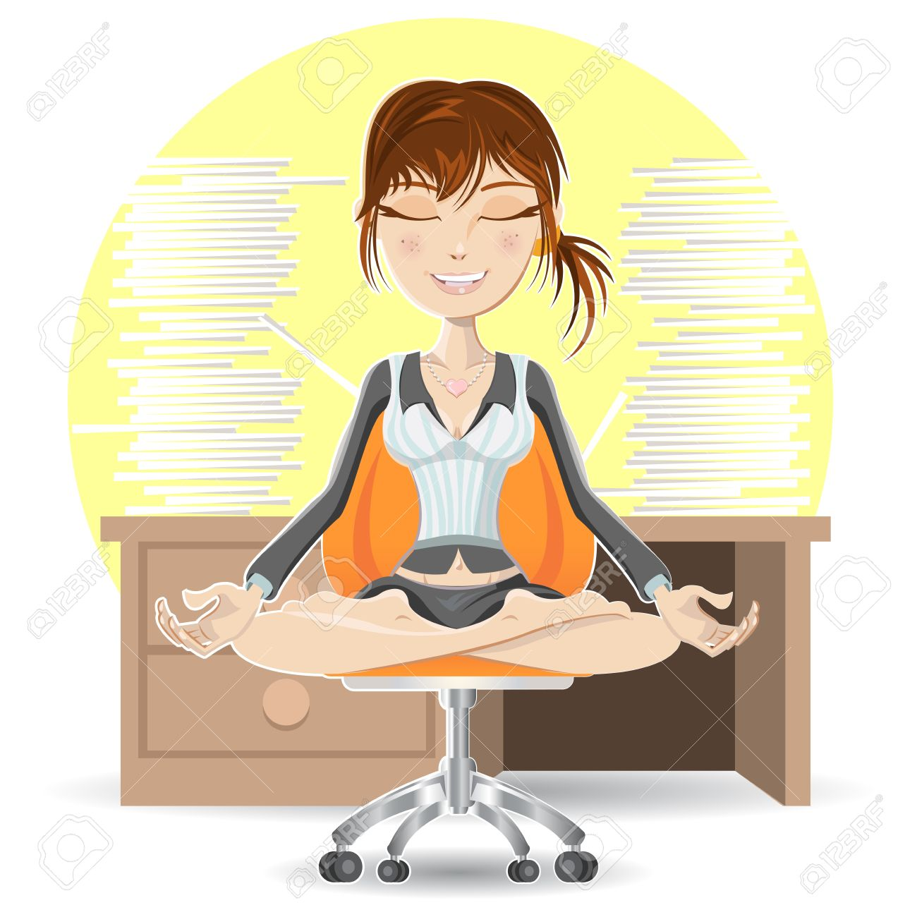Woman Meditation At The Office Calming Down In Busy Environment - 20707911