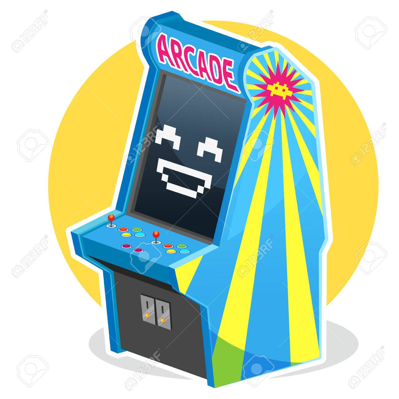 Blue Vintage Arcade Machine Game Royalty Free Cliparts, Vectors ...