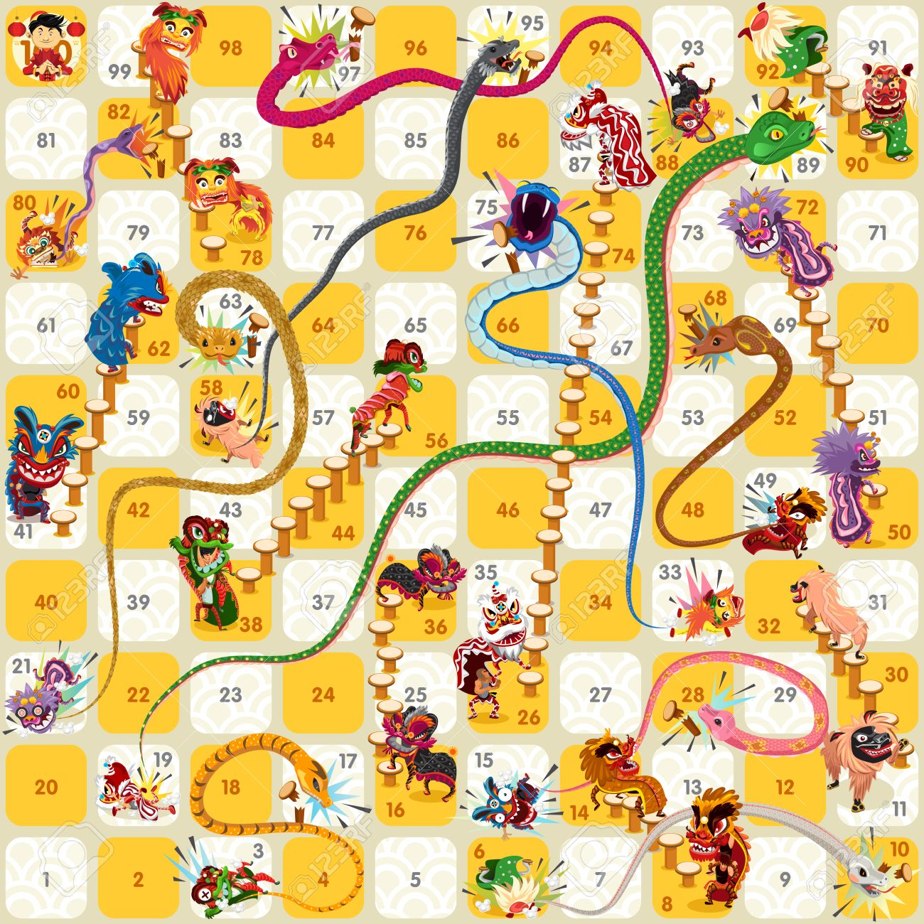 Snake and Ladder Board Game Chinese New Year Vector - 54040322