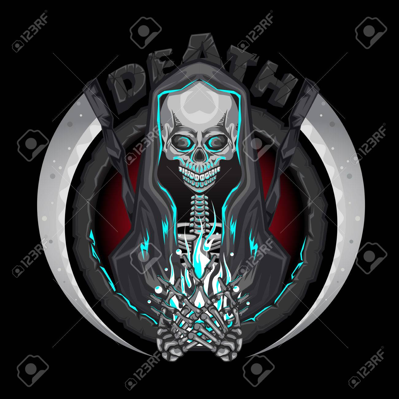 Death skeleton Grim Reaper characters with scythe Emblem Logo