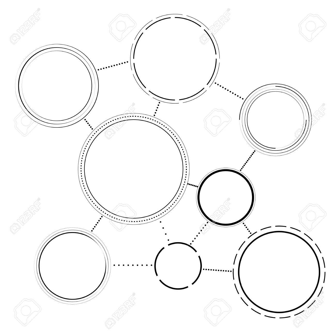 black and white simple networking scheme template for infographics