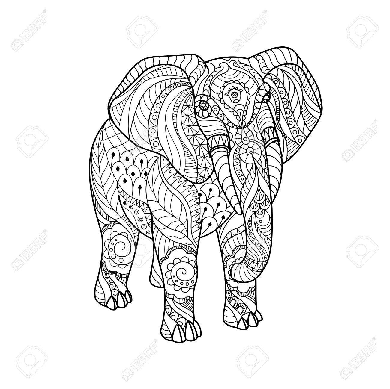 Elefante Sobre Fondo Blanco Boceto A Mano Alzada Para Adultos Anti Estrés Página De Libro Para Colorear Con Elementos Doodle Y Zentangle