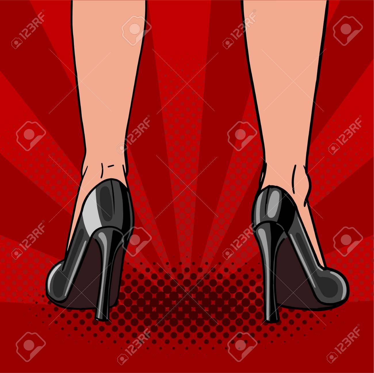 Arte Sobre Negros Hermosos Pies Femeninos AltosZapatos Un Fondo Pop Una Vector En Tacones Mujer BailandoIlustración Rojo De UpVLqzMGS
