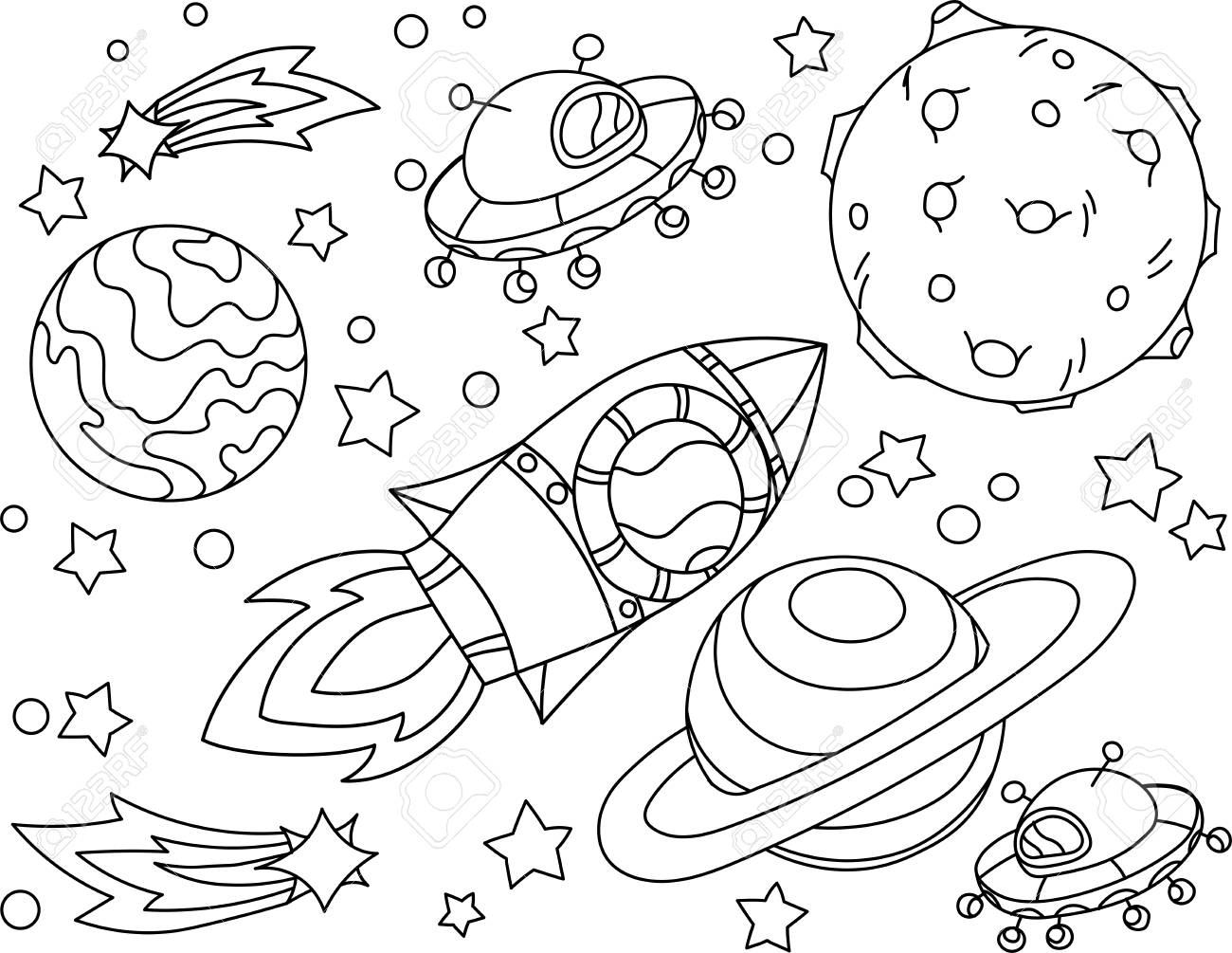 La Fusée Vole Au Livre De Coloriage De La Lune Planète Terre Et Lune Anti Stress Illustration De Vetor Dans Un Style Zentangle Eps 10
