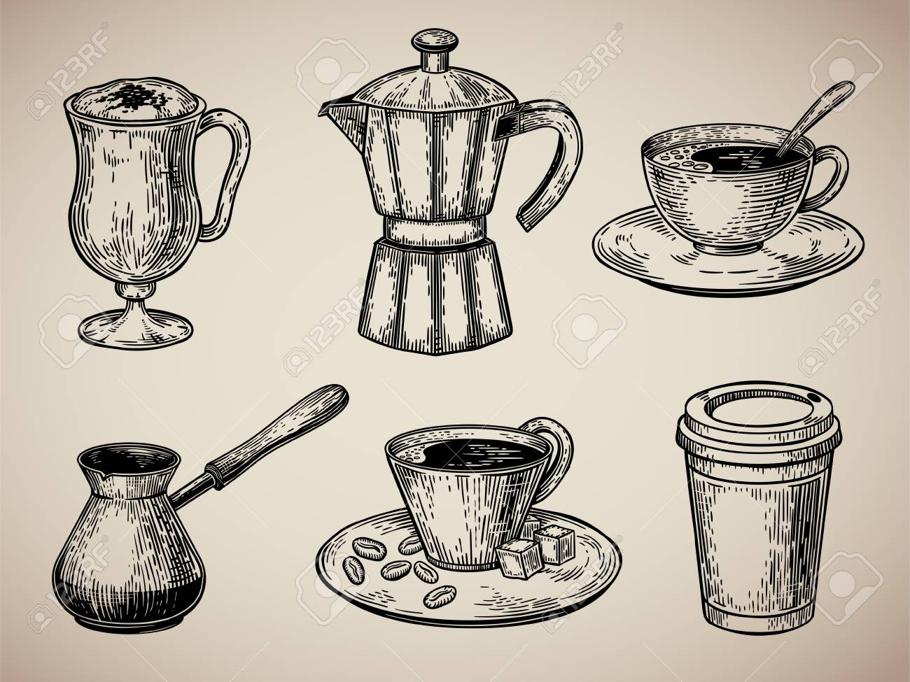 Coffee Set Engraving Latte Turk Pot Cup With