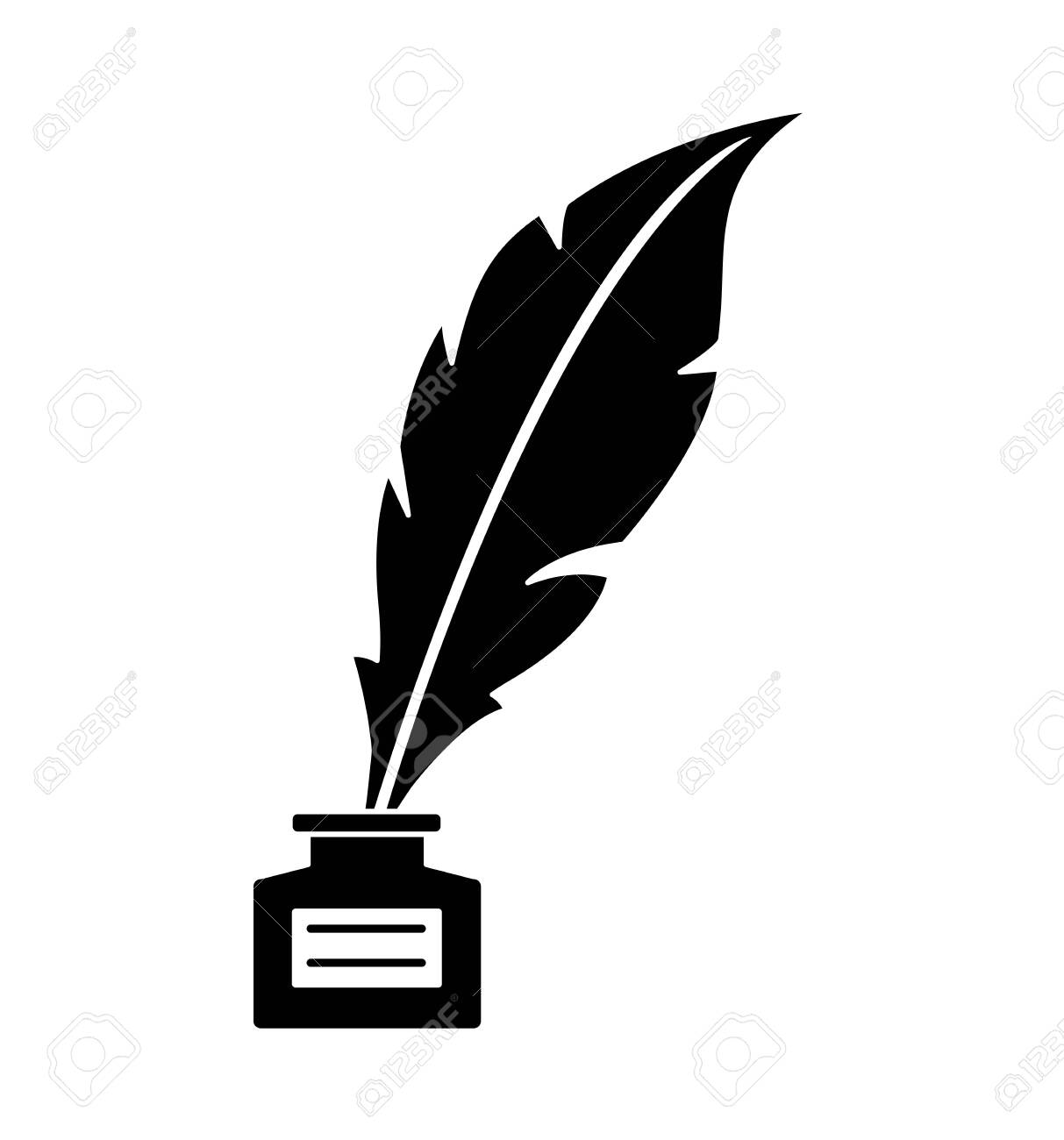 Old feather with ink isolated on white background vector illustration eps 10 - 122687053
