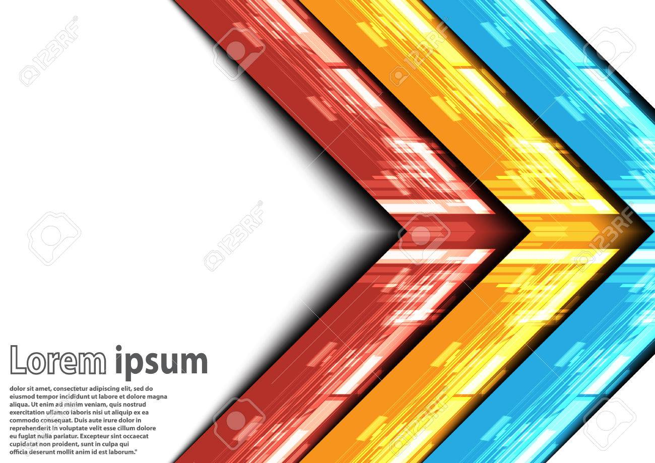 Neon Blue Red Yellow Arrow Abstract Background Vector Illustration