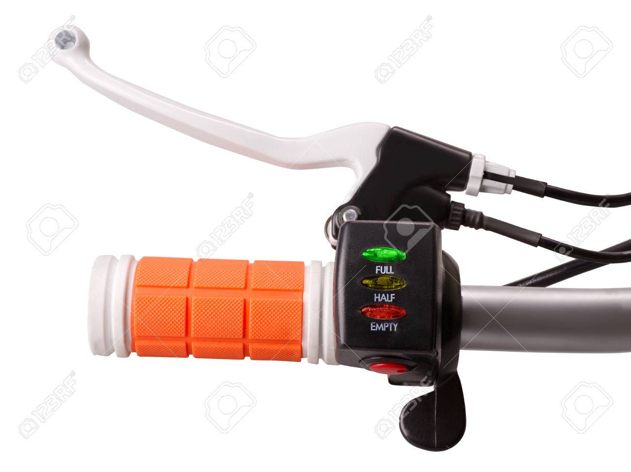 Close-up Of Control Handle Of Electric Bike With Brake Crank.. Stock ...