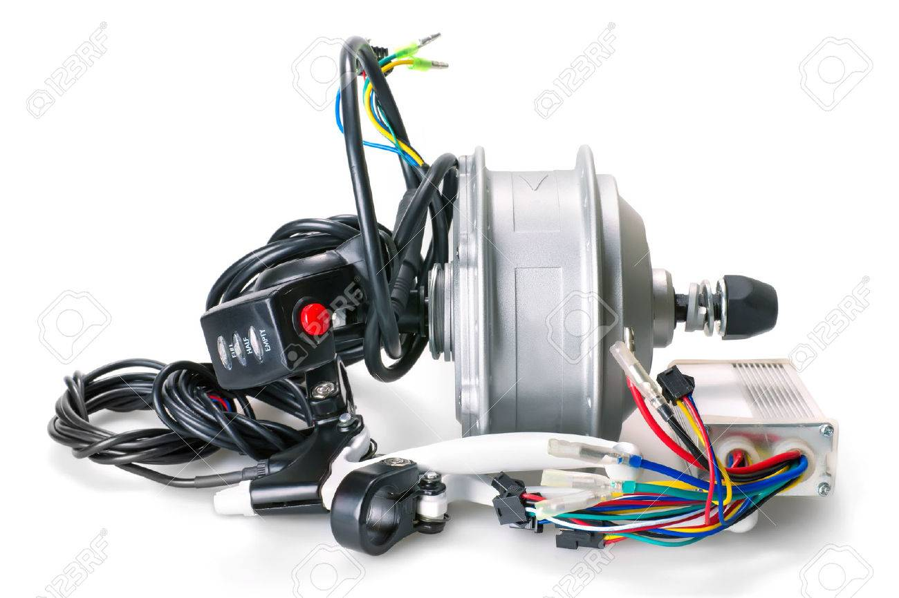Set Of Parts For Electric Bike Construction On White Background ...