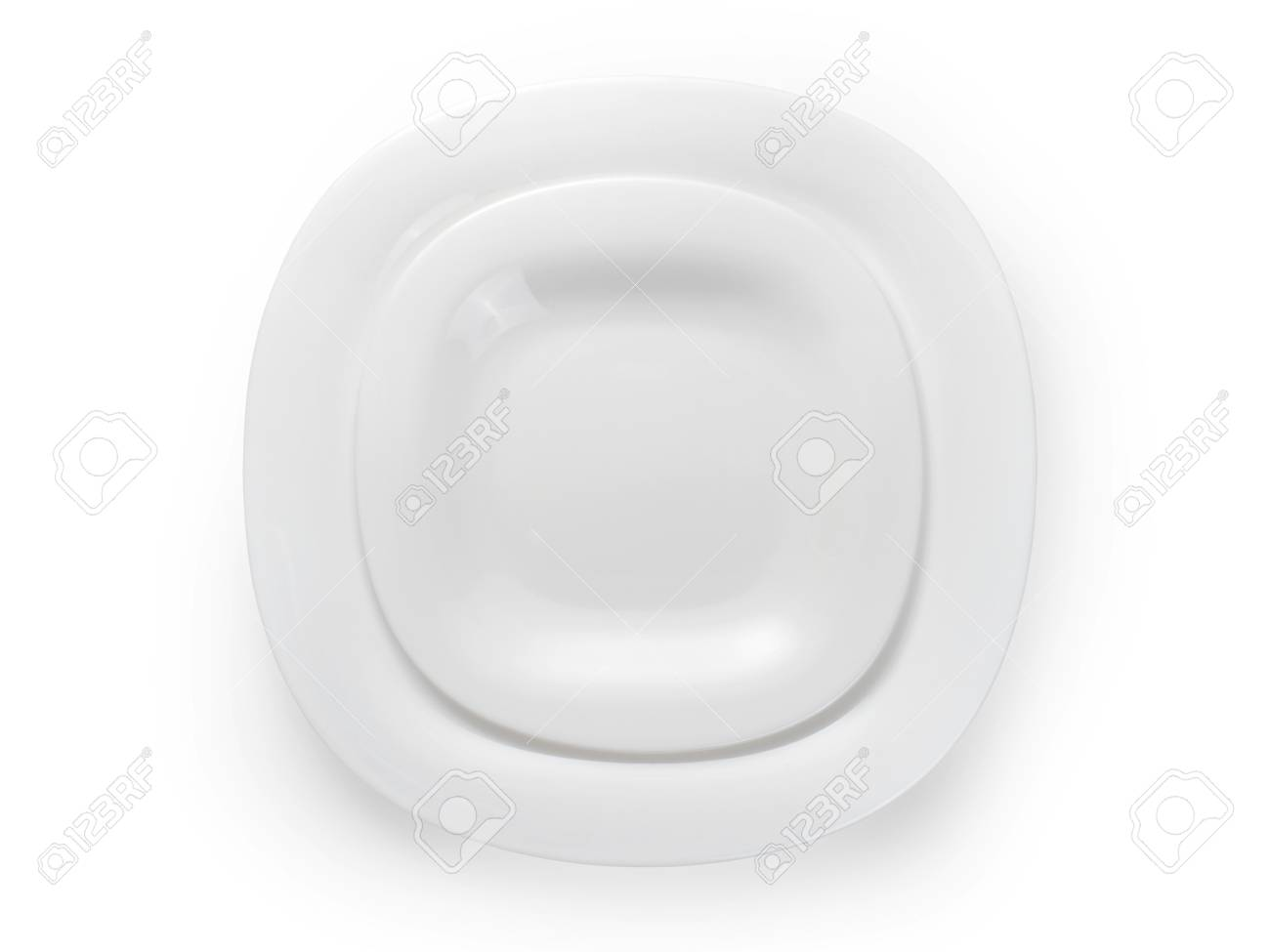 Stock Photo - Two white modern square plates. Table setting top view. Isolated on white clipping path included  sc 1 st  123RF.com & Two White Modern Square Plates. Table Setting Top View. Isolated ...