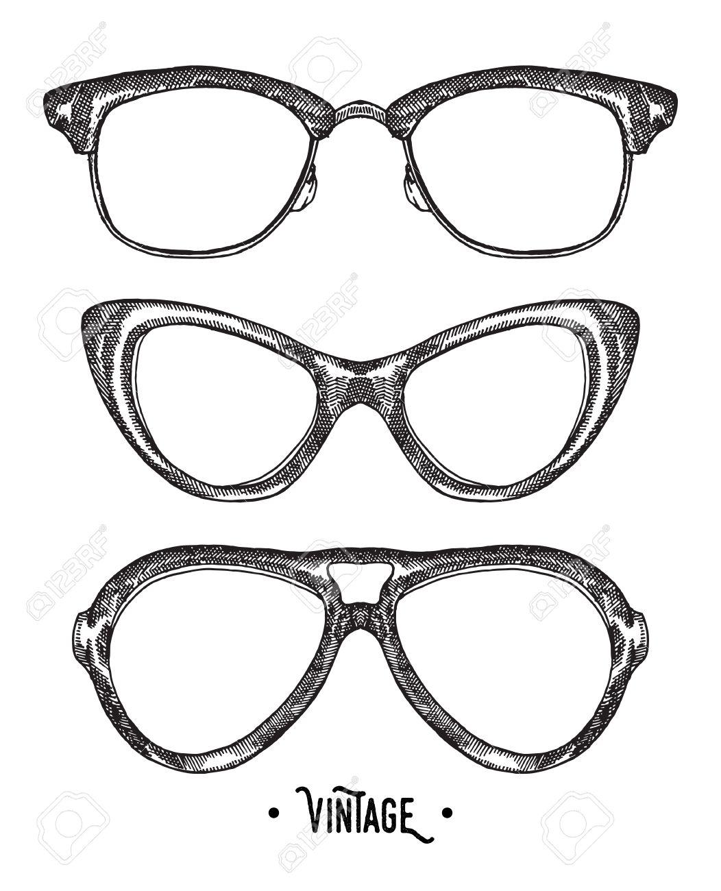 Hand drawn hipster glasses. Vintage vector illustration. Sketch style. - 58817605