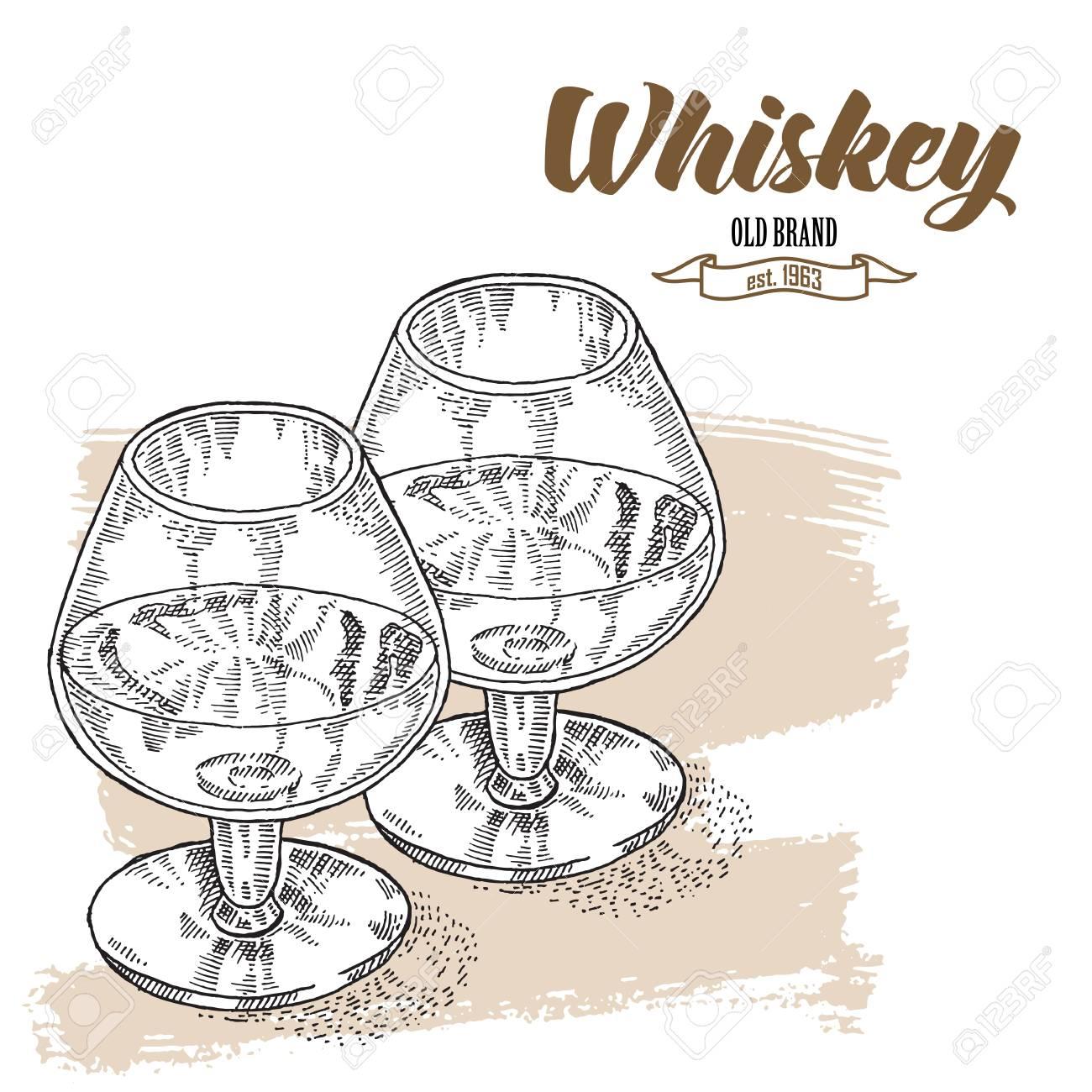 Whiskey Trinken. Hand Zwei Gläser Whisky Gezogen. Gravur-Stil ...