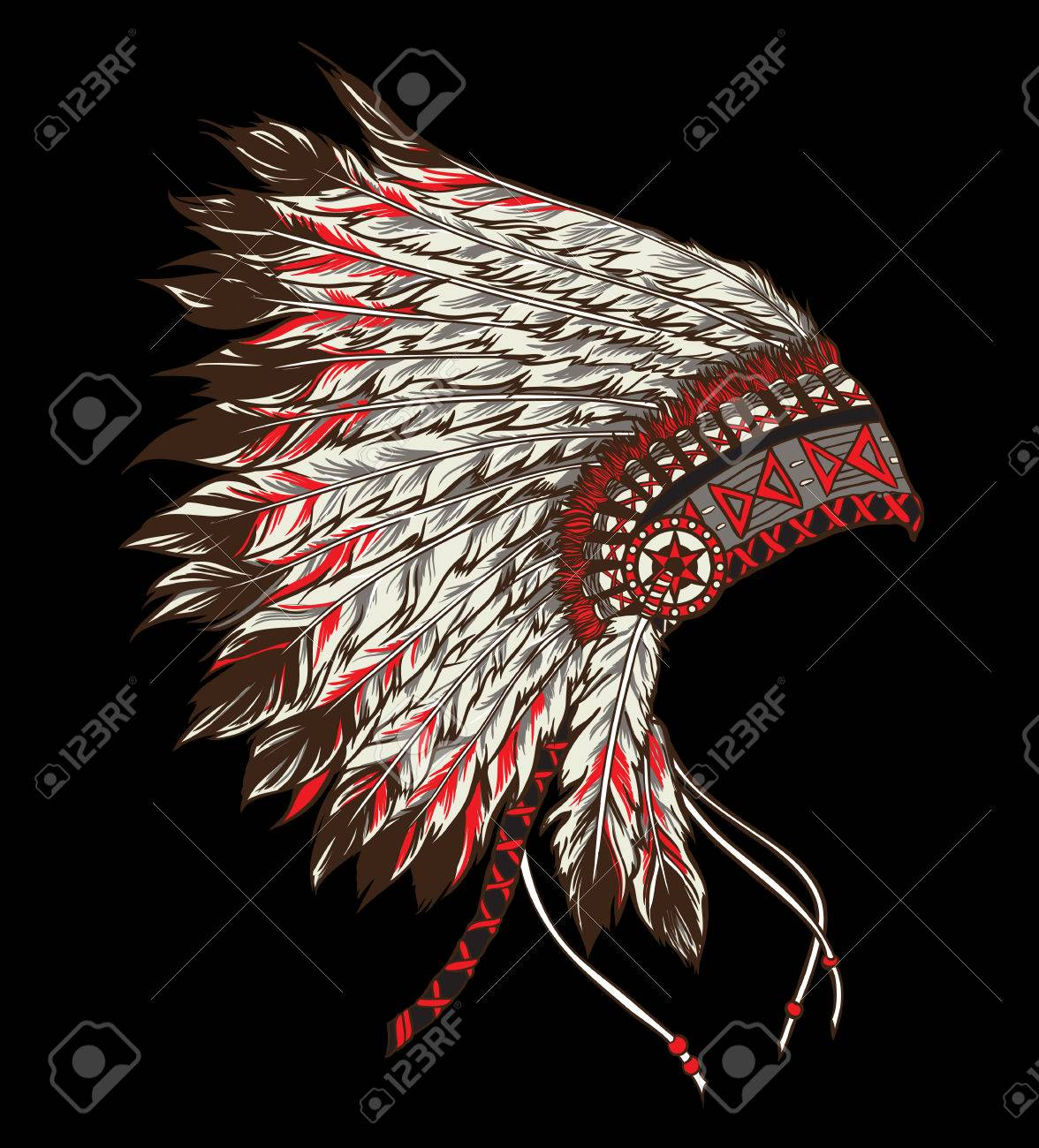 Nativo Americano Principal Tocado Indio. Ilustración Vectorial ...