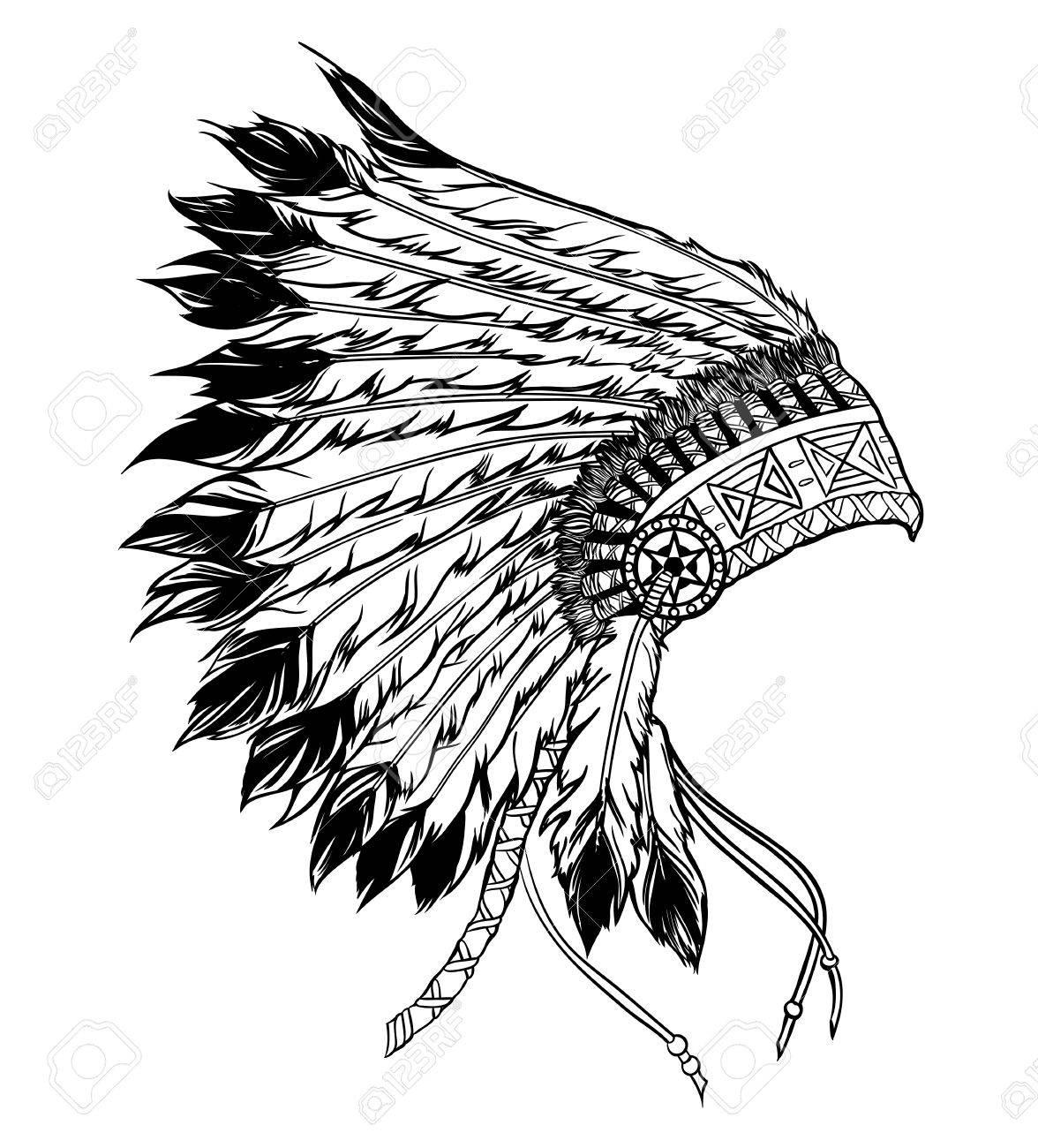 Nativo Americano Principal Tocado Indio. Ilustración Del Vector En ...