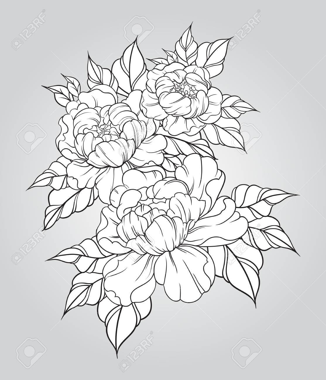 Hand Drawn Peonies In Japanese Tattoo Traditional Style Floral