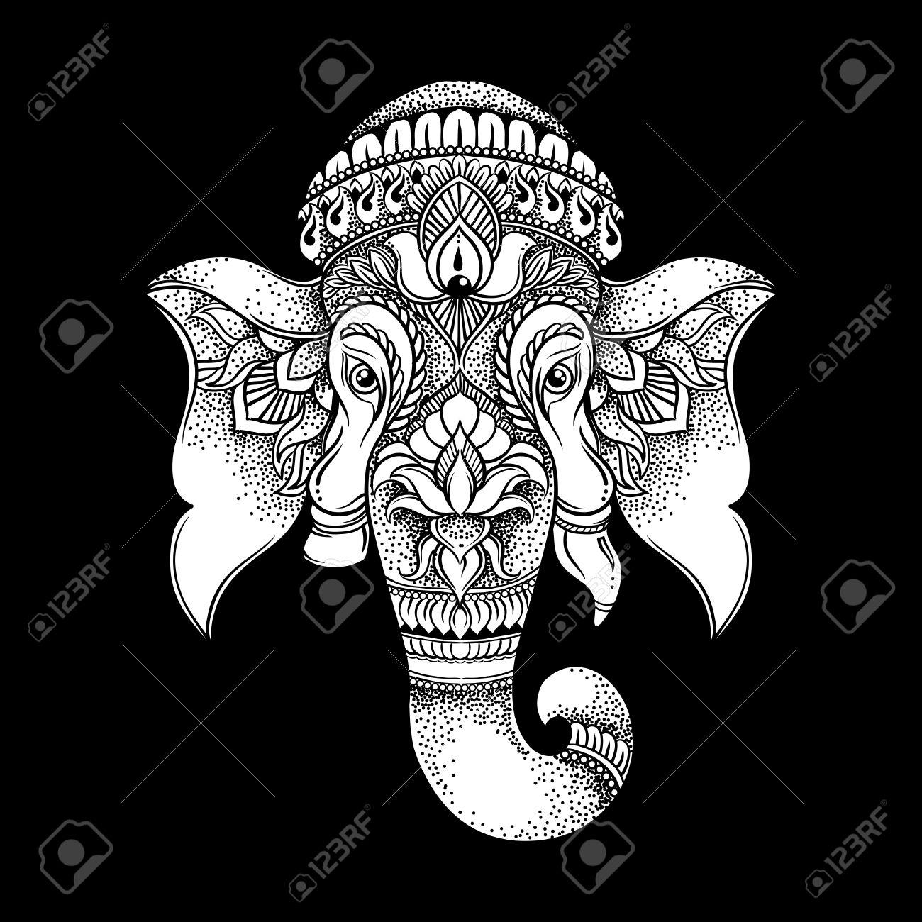 b927f39a08c57 Foto de archivo - La cabeza a mano de estilo tribal del elefante dibujado. ilustración  vectorial hindú Ganesha. diseño de la camiseta