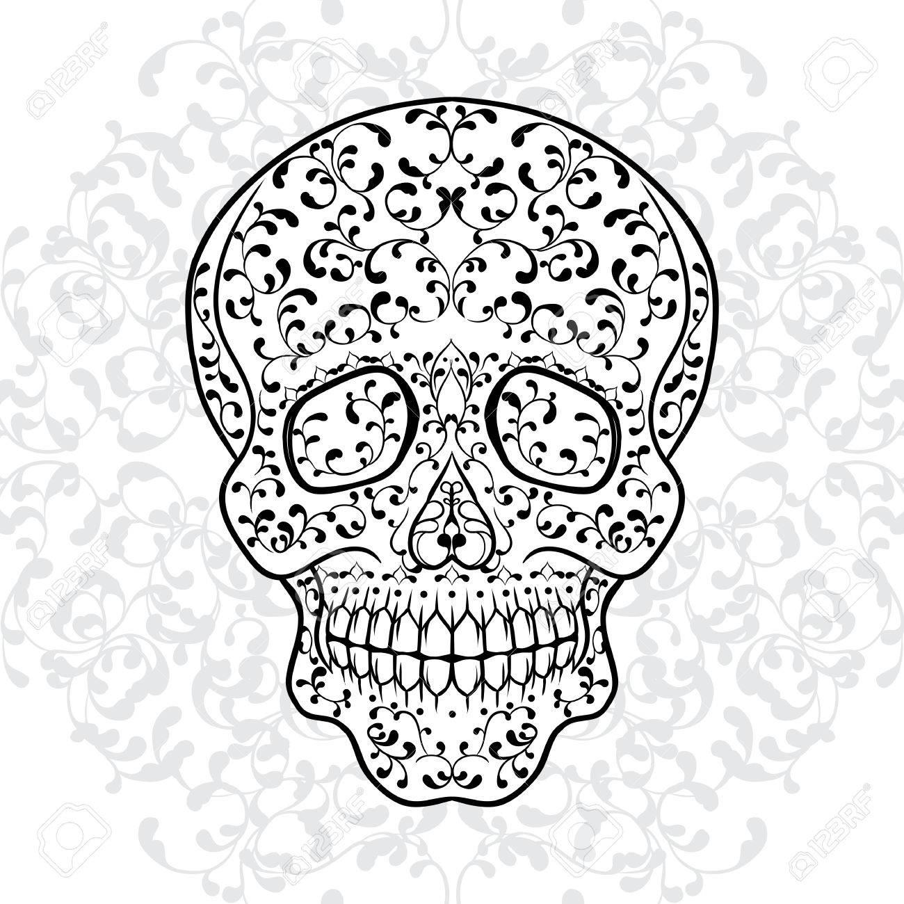 hand drawn sugar skull dia de los muertos vector illustration