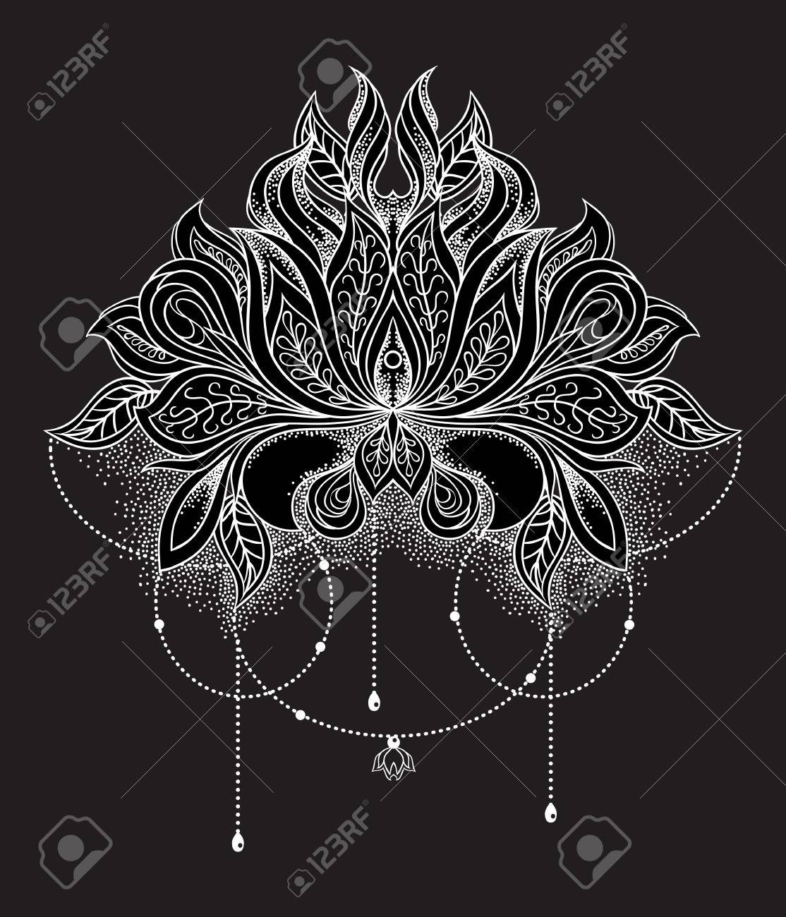 Beautiful Hand Drawn Ornamental Lotus Flower Ethnic Patterned