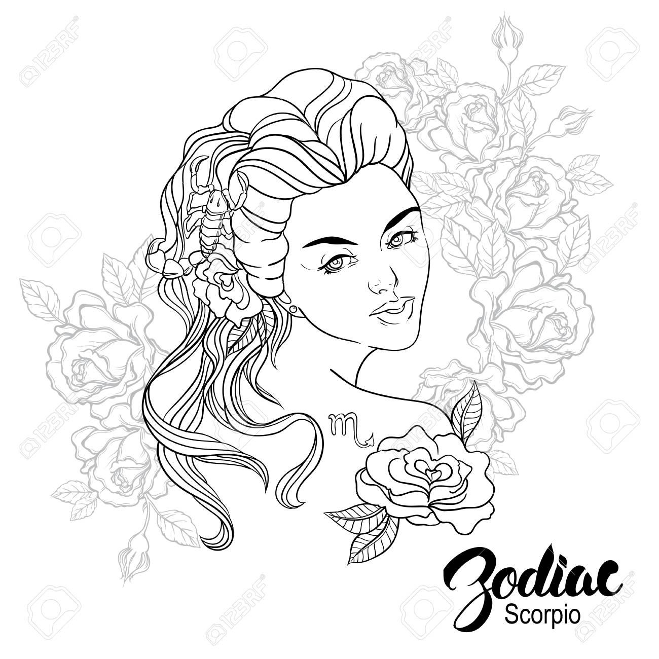 Ilustración Del Zodiaco Del Escorpión Como Muchacha Con Flores Diseño De Página De Libro Para Colorear