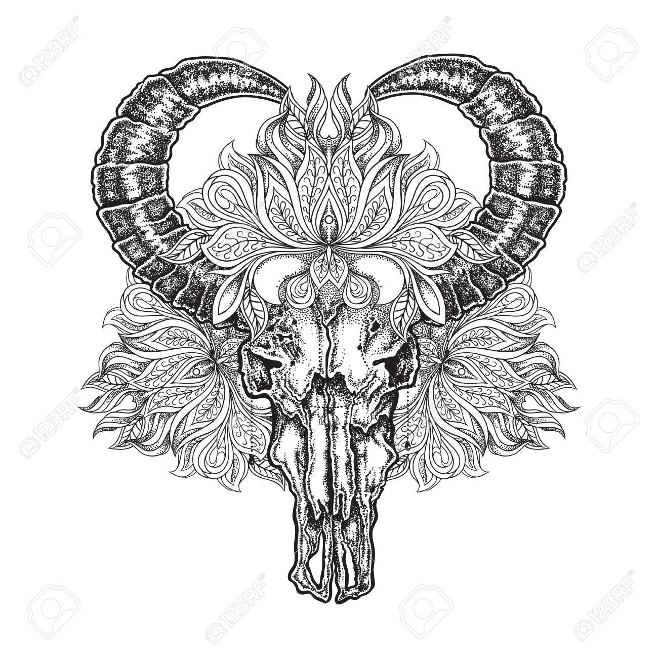 0663c8283 Hand drawn dot work tattoo buffalo skull with mandala flower. Vector  illustration isolated Stock Vector