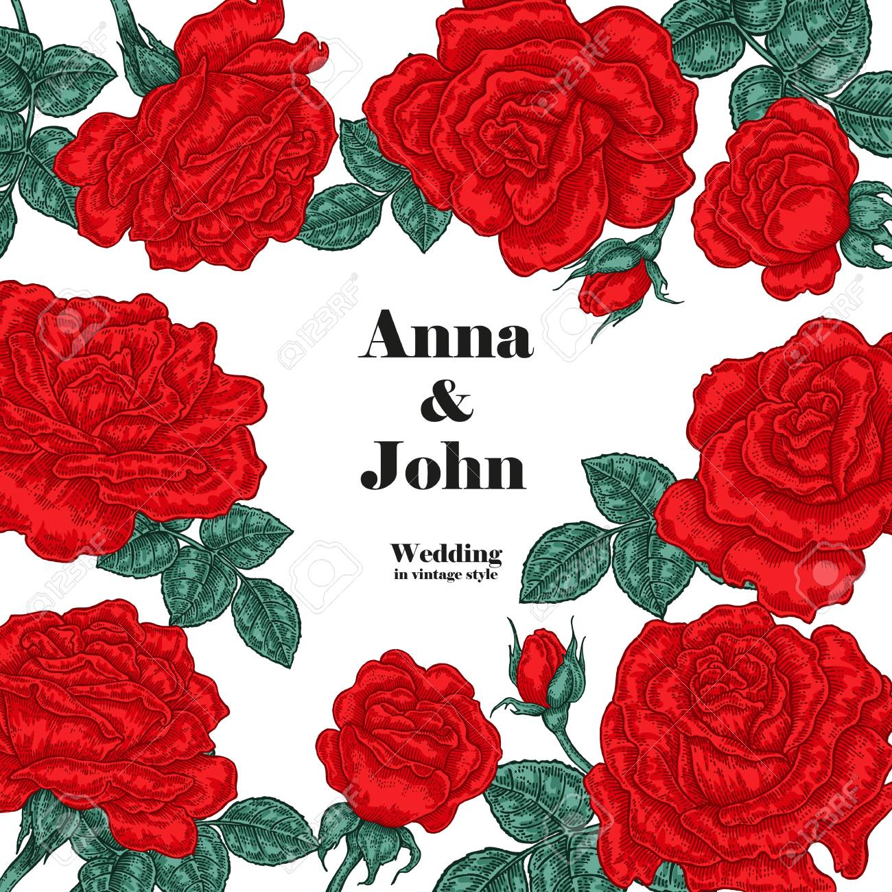 Floral Wedding Invitation Card. Vector Sketch. Red Roses On White ...