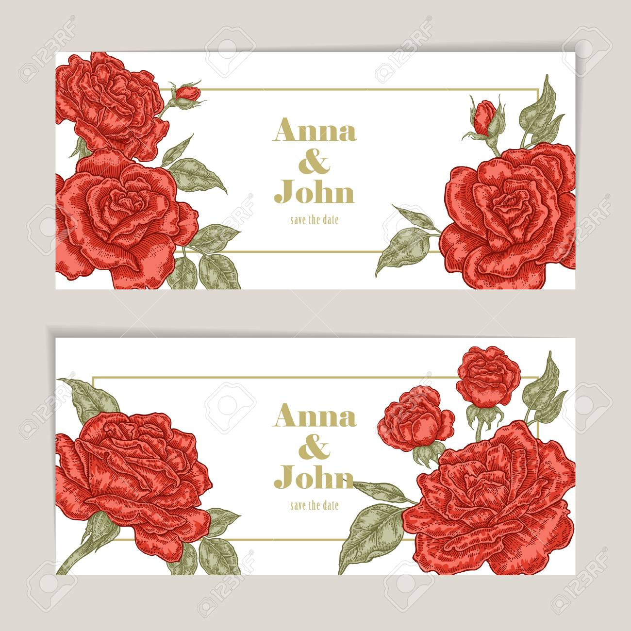 Floral Wedding Invitation Card Sketch. Vector Illustration Vintage ...