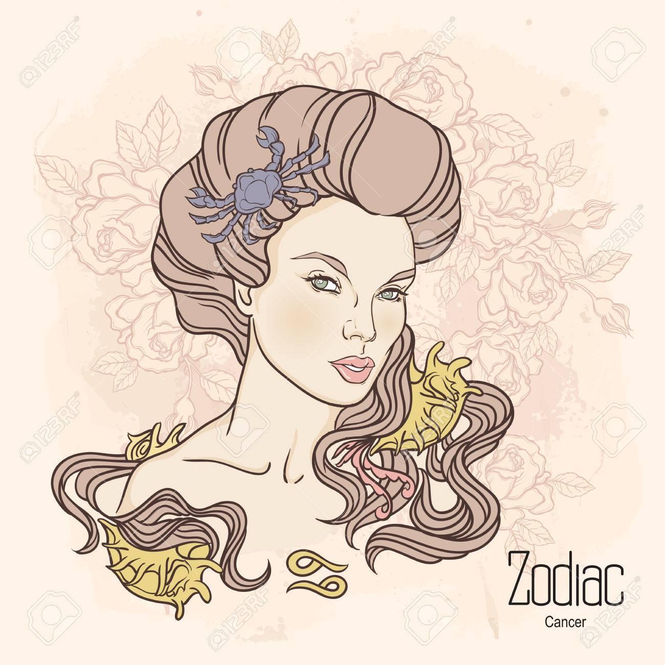 Tierkreis Vektor Illustration Von Krebs Als Madchen Mit Blumen