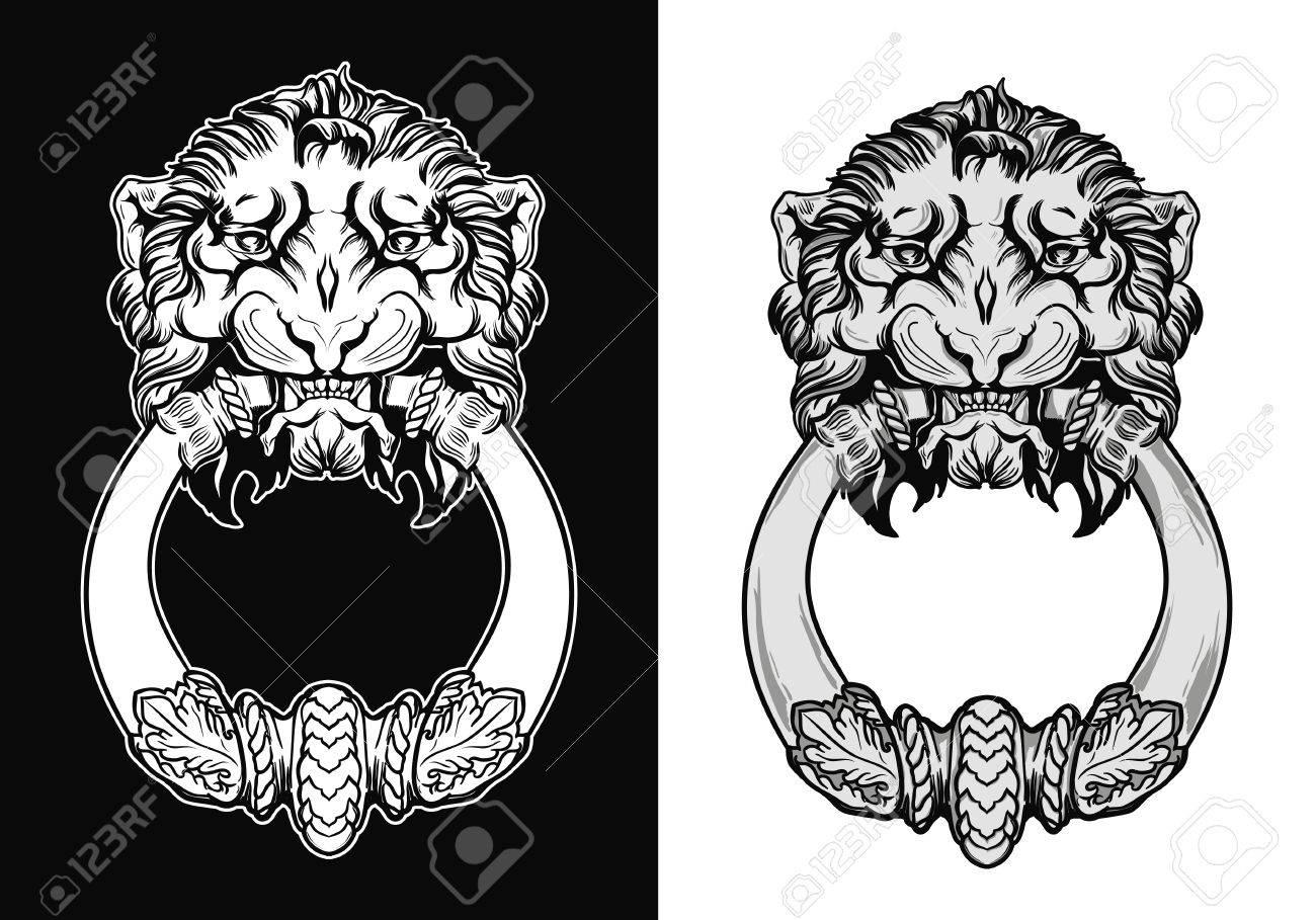 Engraved Lion Head Door Knocker Hand Drawn Vector Illustration