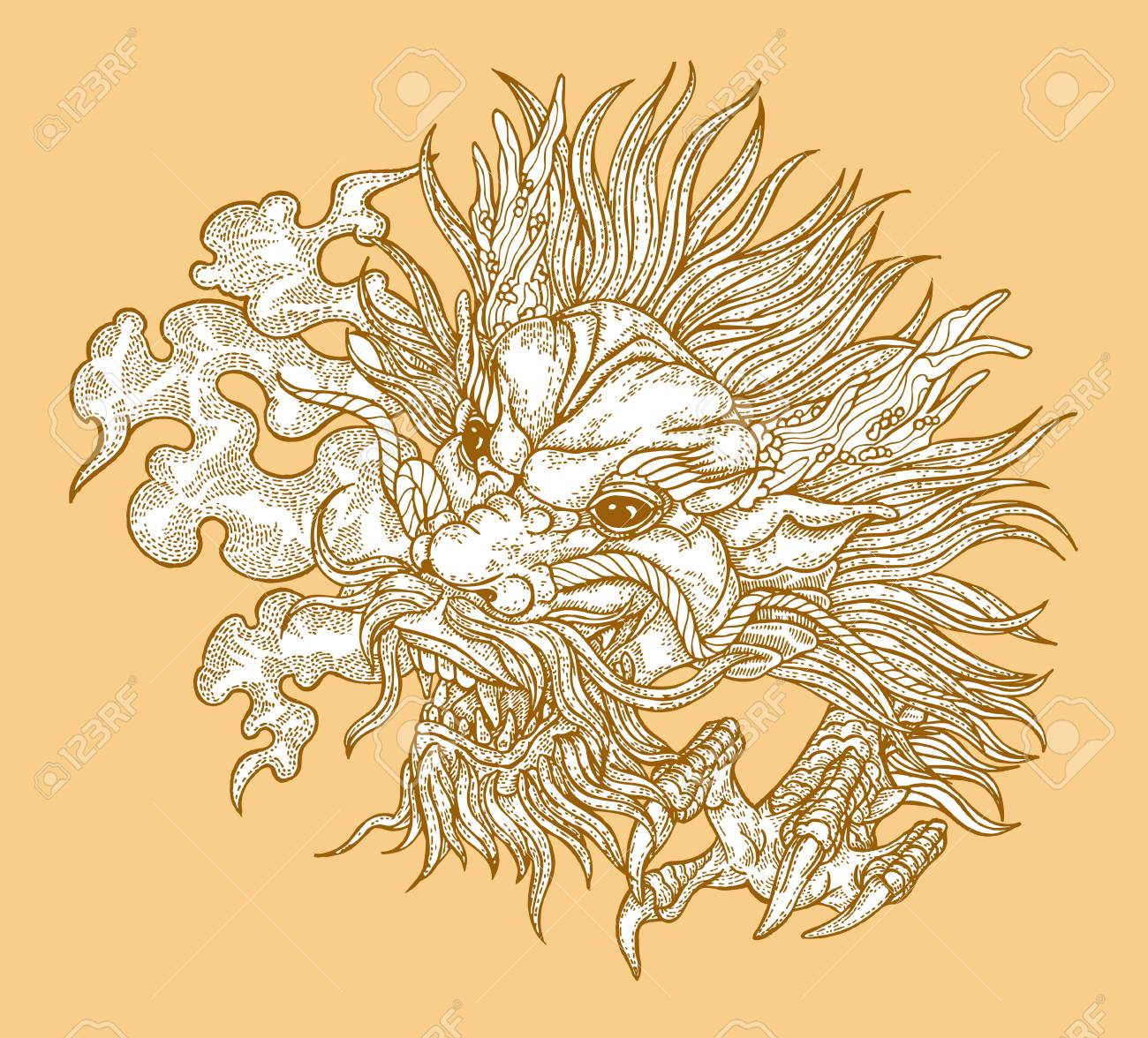 Hand Drawn Asian Dragon Head On Gold Background Vector
