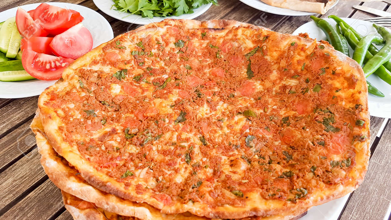 Traditional Delicious Turkish foods; Turkish pizza (Lahmacun) - 152127080