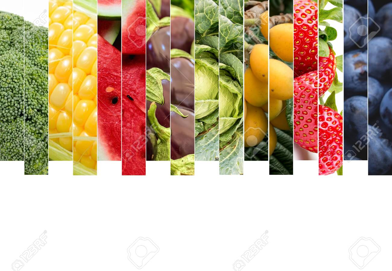 Fresh vegetables and fruits collage. Various vegetables and fruits background. - 152770914