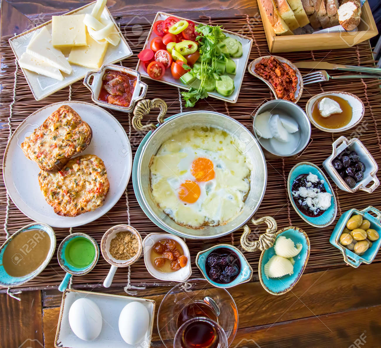 Traditional Delicious Turkish breakfast. Travel concept photo. - 152911812