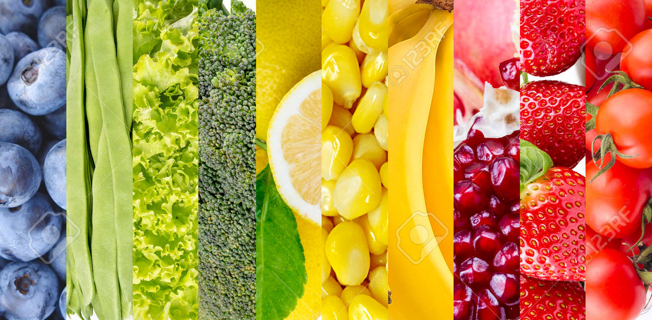 Color fruits and vegetables. Fresh food. Concept. Collage - 152793328