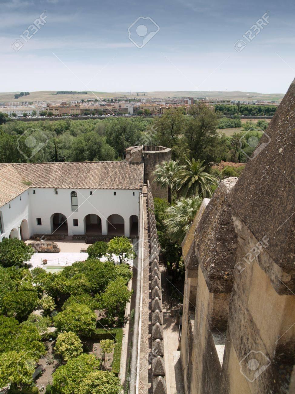 Inner Garden And Castle Wall In Alcazar De Los Reyes Cristianos, Cordoba,  Spain Frome