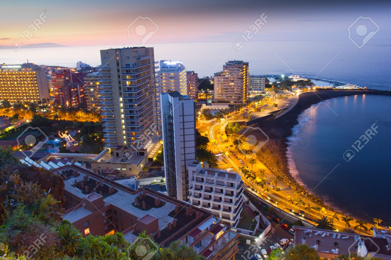 Beaches And Hotels Of Puerto De La Cruz At Sunset Tenerife Stock Photo Picture And Royalty Free Image Image 18431386